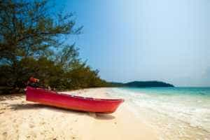 Red Boat on a Beach on Koh Rong Samloem