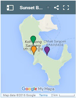 Sunset Beach on Koh Rong Samloem Island in Cambodia Map