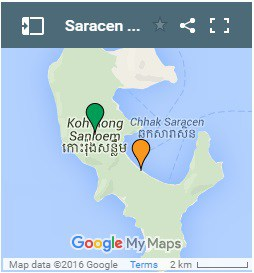 Saracen Bay on Koh Rong Samloem Island in Cambodia ແຜນທີ່