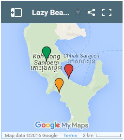 Lazy Beach on Koh Rong Samloem Island in Cambodia Map