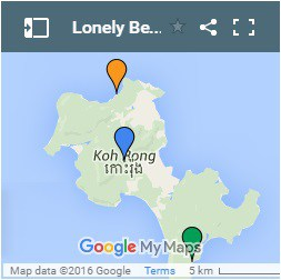 Lonely Beach on Koh Rong Island in Cambodia Map