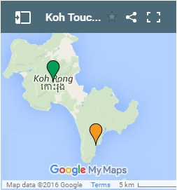 Koh Touch op Koh Rong Island in Kambodja Map