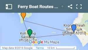 Sihanoukville to Koh Rong Ferry Boat Routes