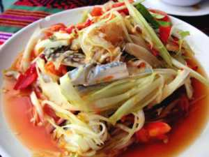 Crab & Papaya Salad at Saracen Bay Resort