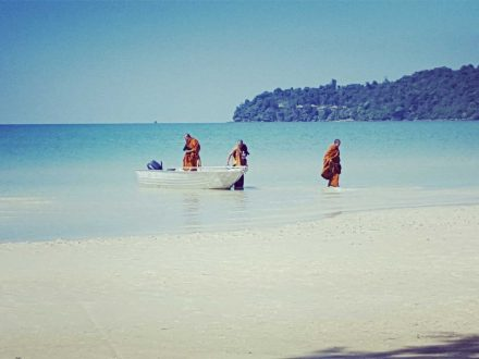 Buddhist Monks on Koh Rong Samloem Island in Cambodia