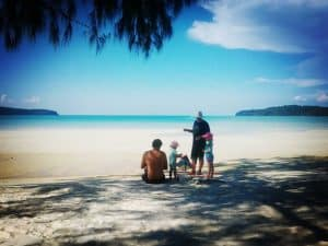 A family on Saracen Bay, Koh Rong Samloem