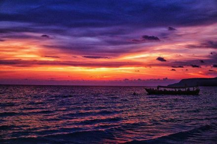 Sunset on Koh Rong Island in Cambodia