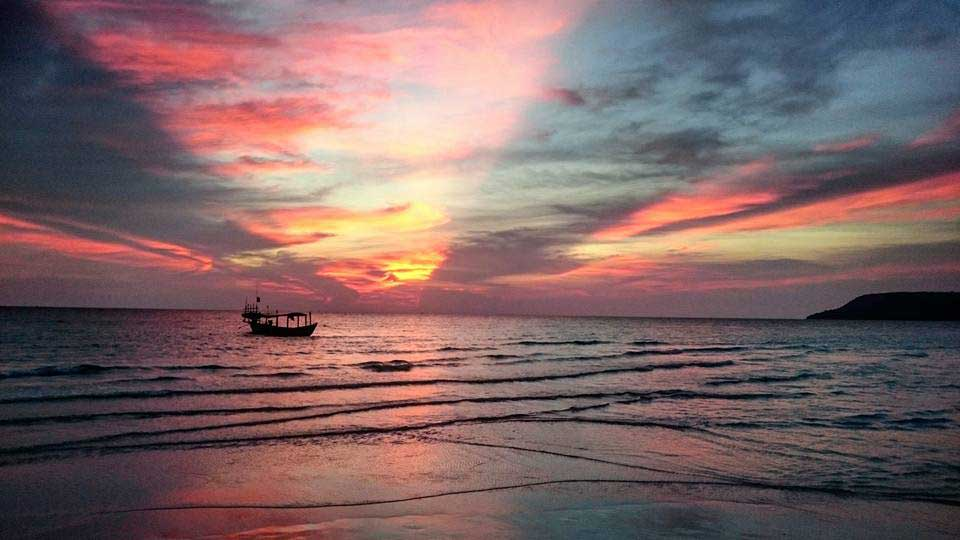 Sunset on Long Beach, Koh Rong Island in Cambodia