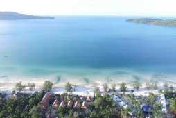 Aerial View of Saracen Bay on Koh Rong Samloem