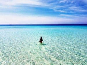 Woman-in-Water-on-Long-Beach-Koh-Rong